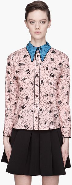 Marni Pink and Blue Collared Silk Blouse - Lyst