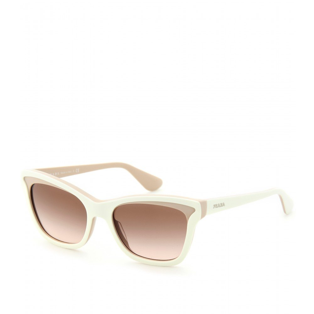 Prada White Frame Glasses : Prada Winged Frame Sunglasses in Natural Lyst