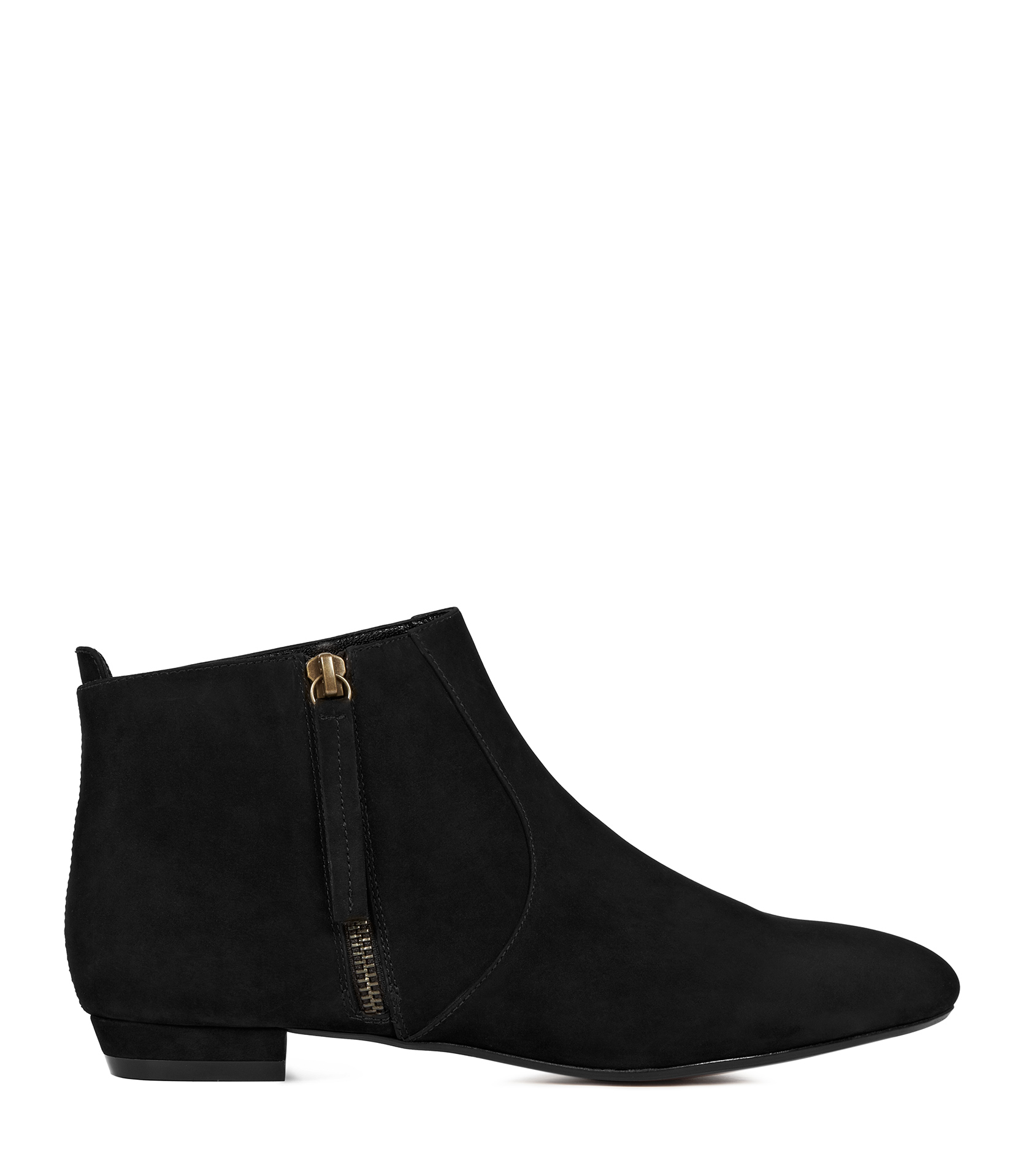 Reiss Lara Zip Up Denim Flat Ankle Boot In Black Lyst