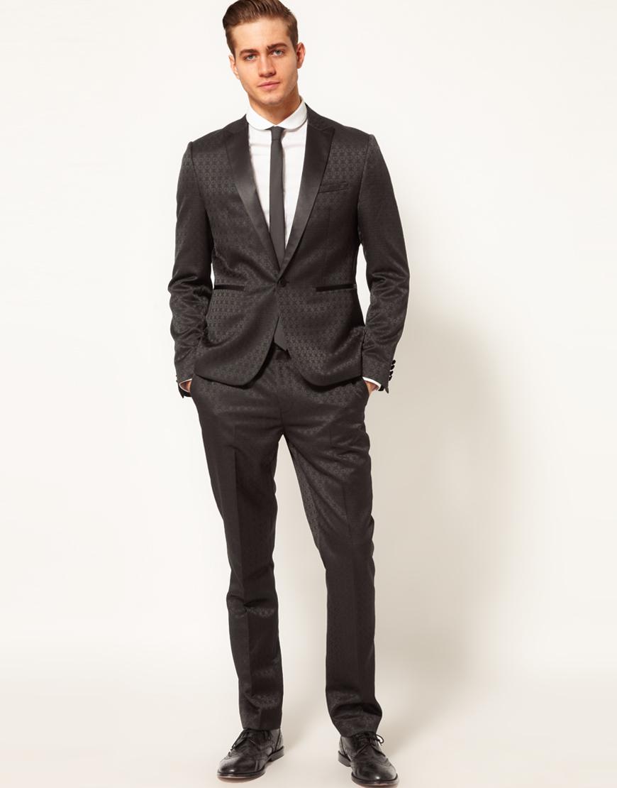 Asos Slim Fit Tuxedo Suit Jacket in Jacquard in Black for Men | Lyst