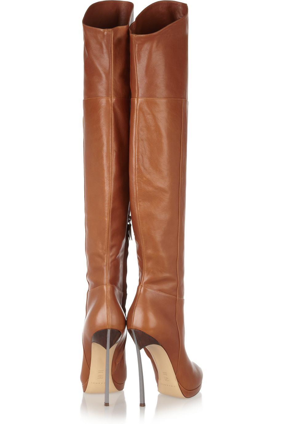 Casadei Leather Thigh Boots in Brown | Lyst