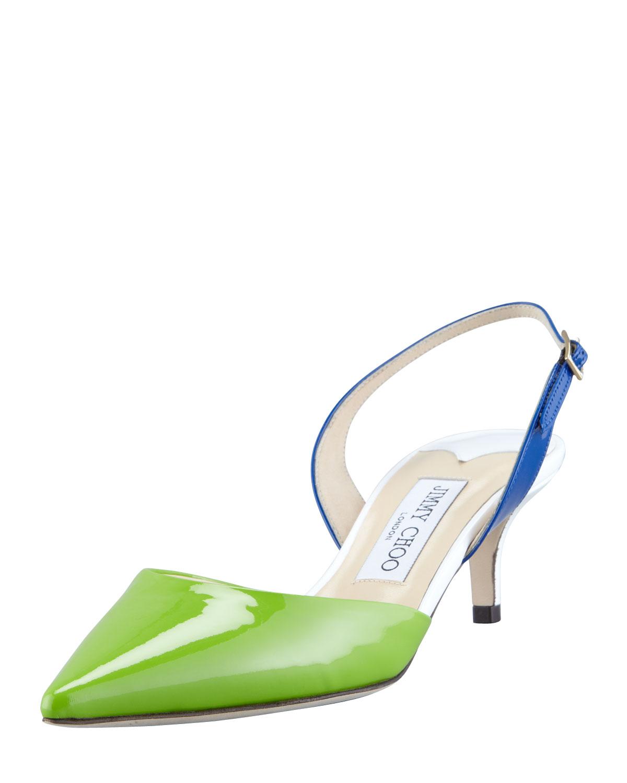 321238f8e604 Lyst - Jimmy Choo Varia Colorblock Patent Slingback Pump in Green