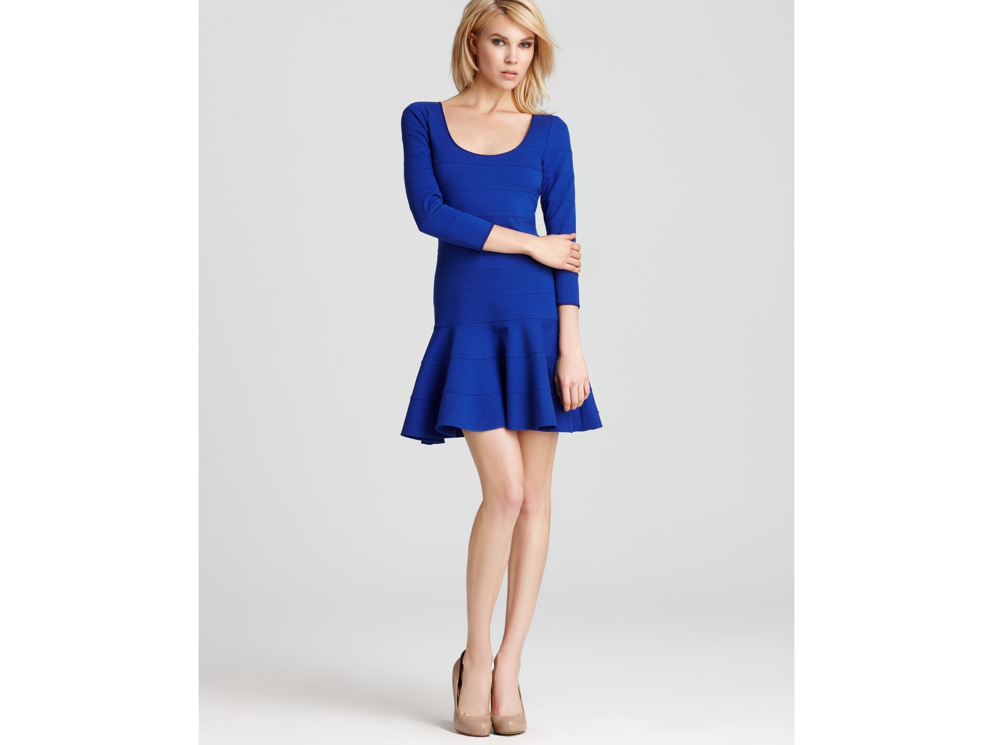 Lyst - Juicy Couture Dress Pieced Fluid Ponte Banded in Blue 908ec6dba