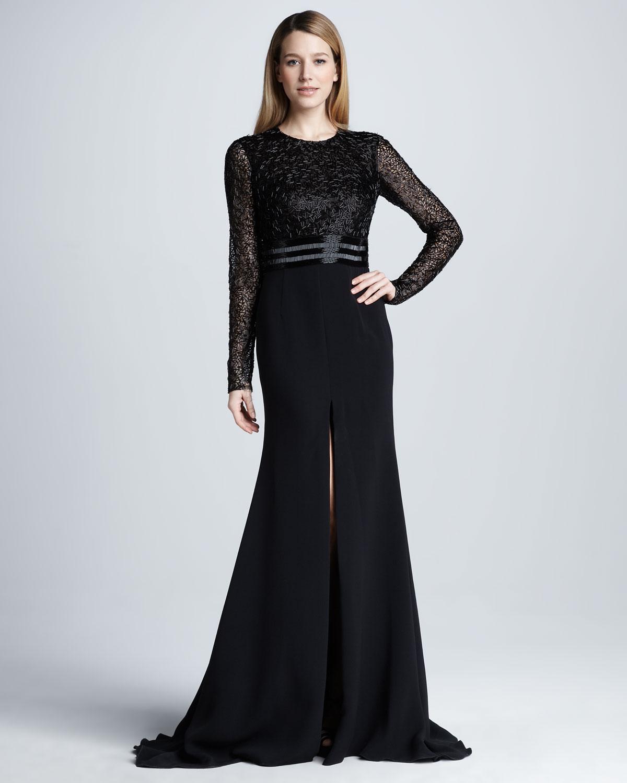Naeem khan Longsleeve Beaded Slit Gown in Black | Lyst