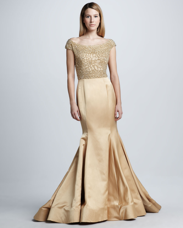 naeem khan beaded capsleeve mermaid gown in gold gold