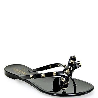 Valentino Rockstud Thong Black Jelly Sandal In Black Lyst
