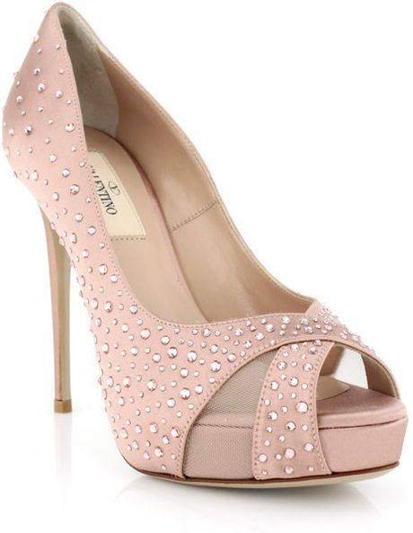 Valentino Poudre Satin Crystal Pump in Pink