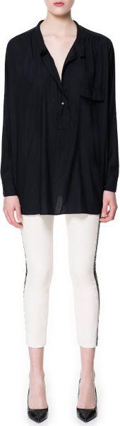 Zara Polo Neck Shirt in Black (grey)