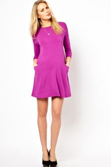 Long Sleeve Shift Dress on Asos Maternity Double Layer Dress With Long Sleeves In Purple  Fuchsia
