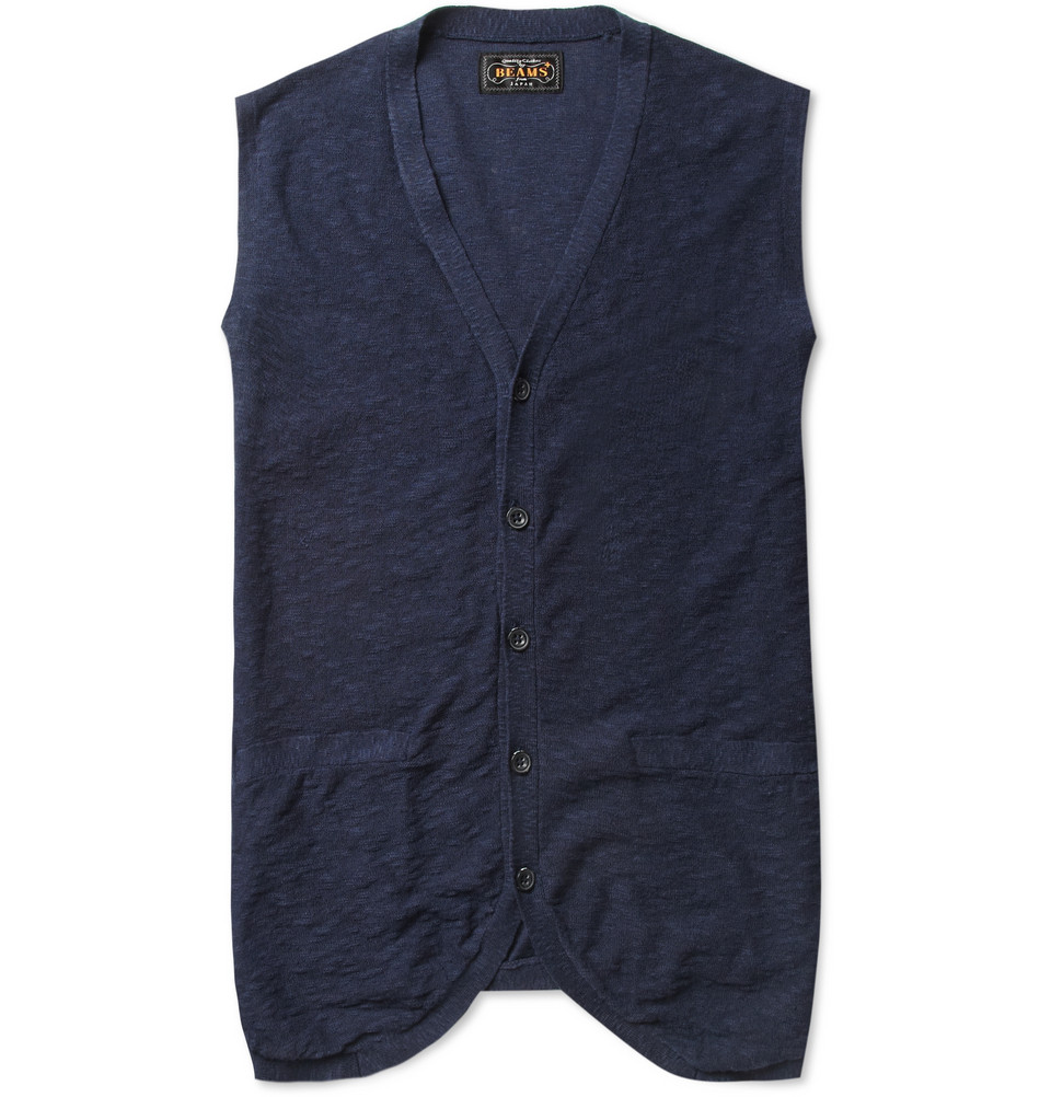 Beams Plus Linen And Cottonblend Sleeveless Cardigan In