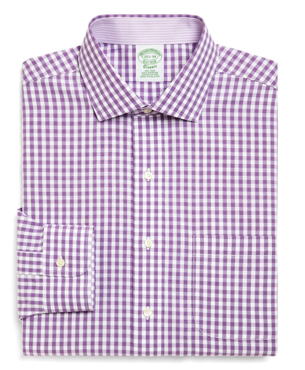 Brooks brothers supima cotton noniron regular fit gingham for Gingham dress shirt men