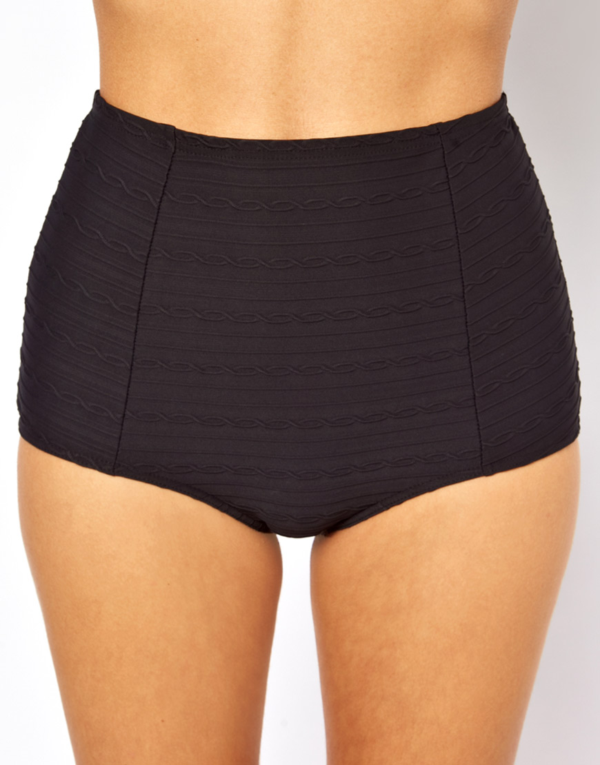 Freya Showboat High Waisted Bikini Bottom in Black | Lyst