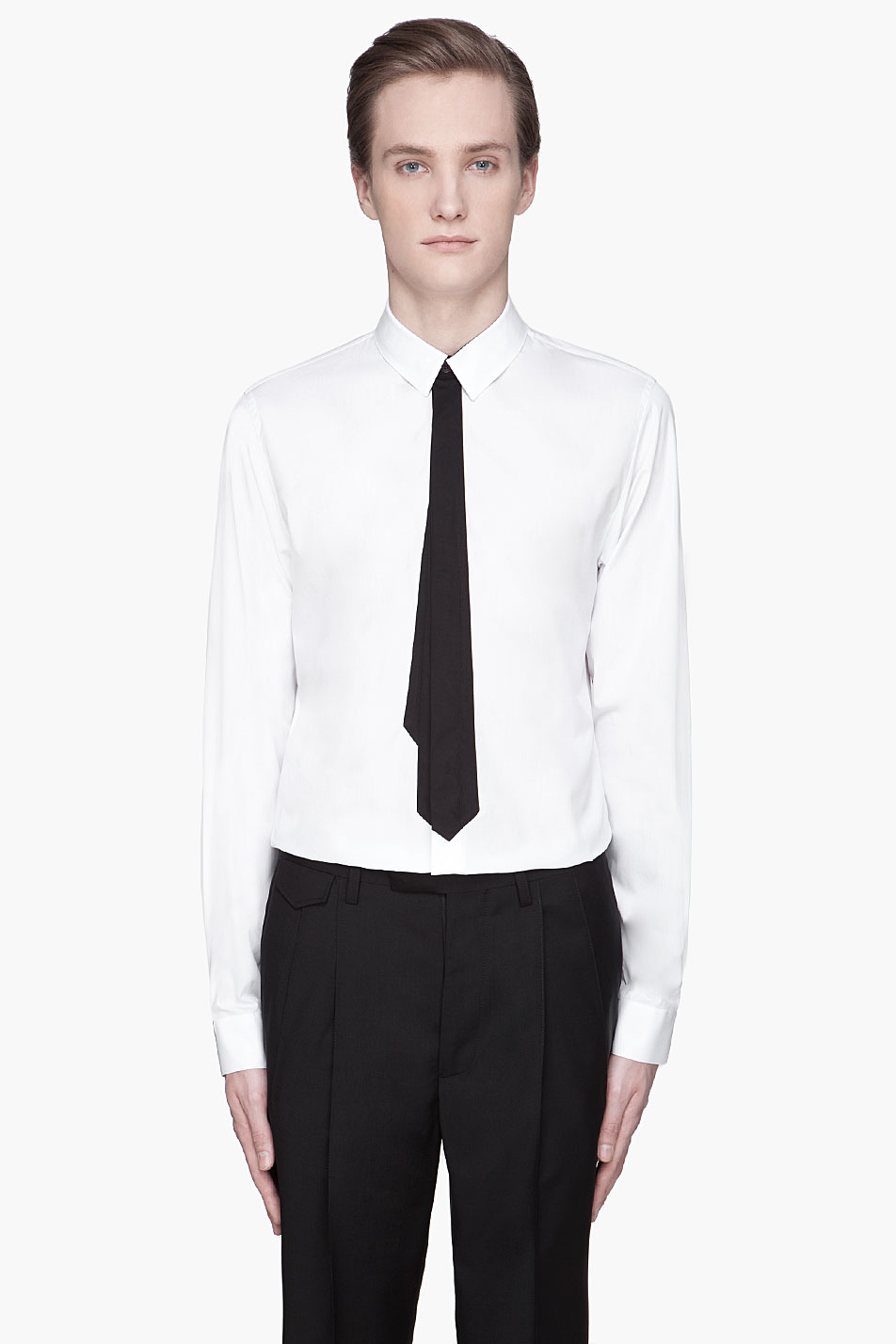 black tie and white shirt is shirt