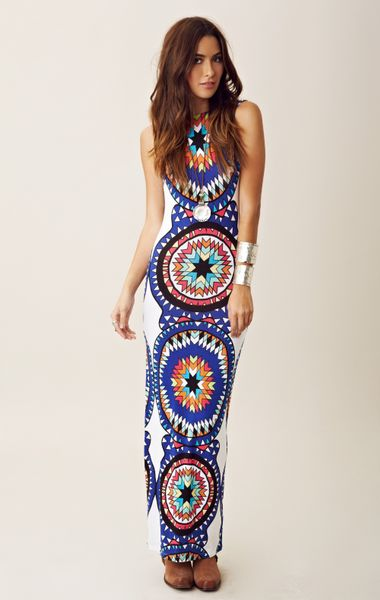 Mara Hoffman Backless Column Dress in Blue (multi)