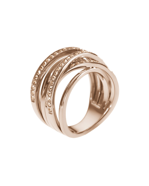 michael kors pave stacked ring rose golden in pink 7 lyst. Black Bedroom Furniture Sets. Home Design Ideas