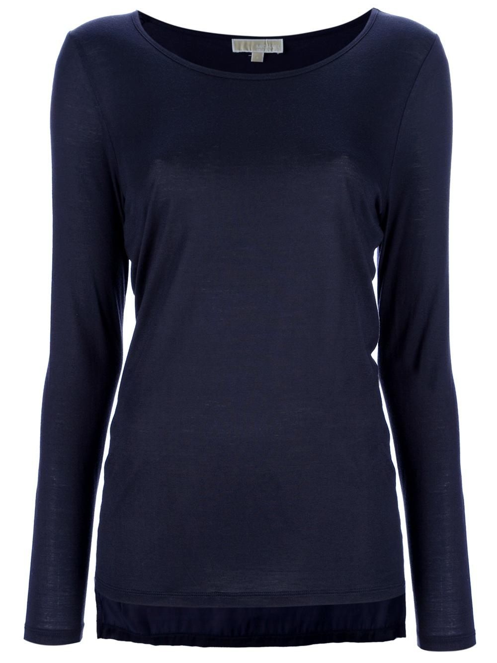 michael kors long sleeve t shirt in blue black lyst. Black Bedroom Furniture Sets. Home Design Ideas