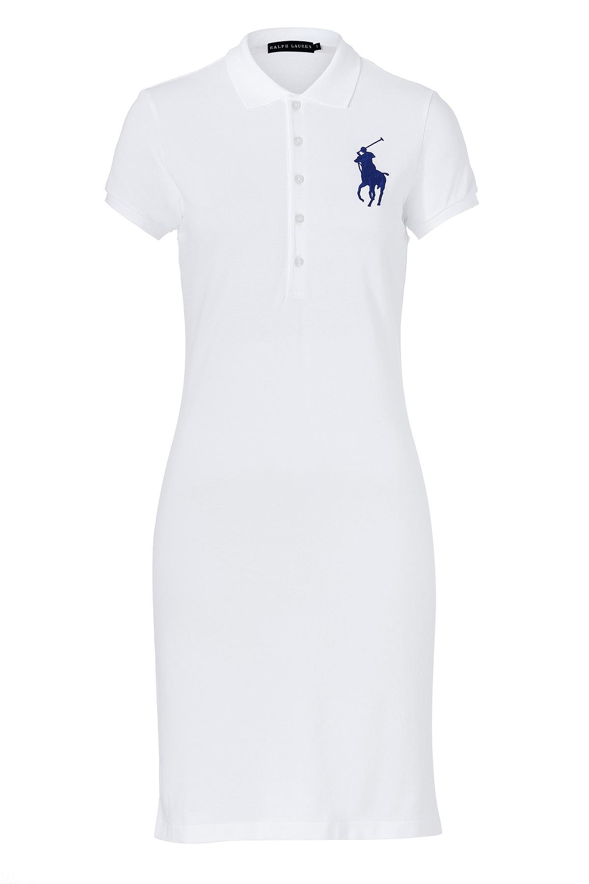 38ef074b7a41f Ralph lauren White Cotton Stretch Big Pony Mesh Polo Dress in White