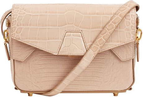 Alexander Wang Beige Trifold Croc Embossed Leather ...