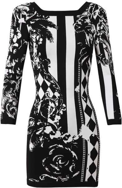 Balmain Baroque Floral Stretch Knit Dress In Black Black