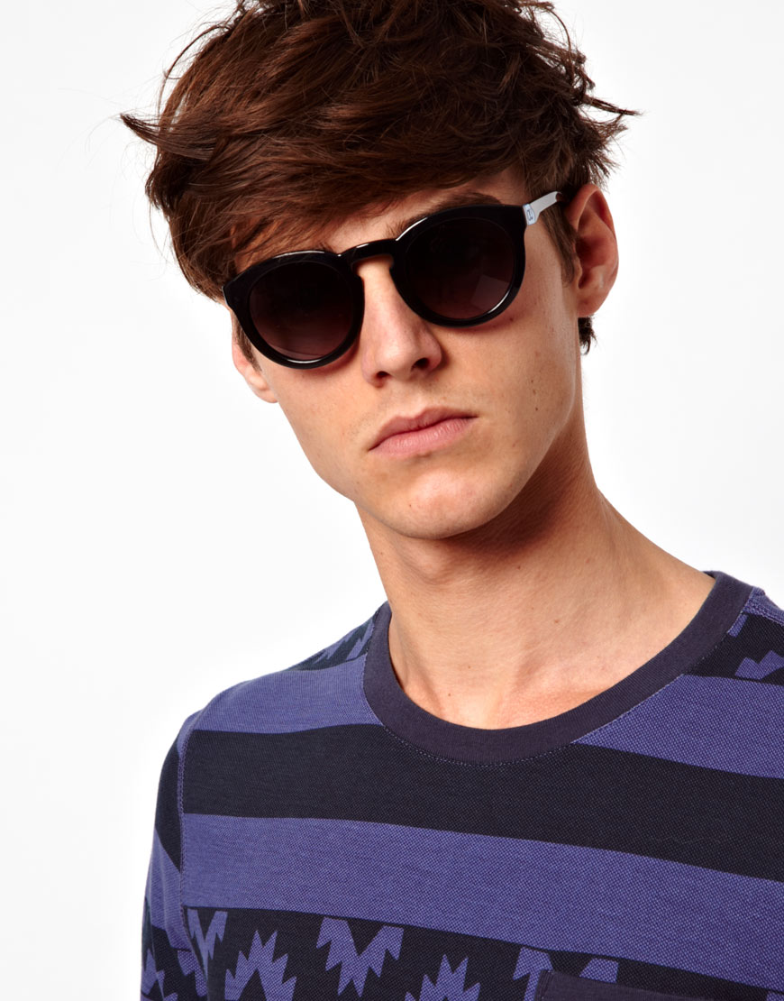 8a119e19aac Lyst - Calvin Klein Round Sunglasses in Black for Men