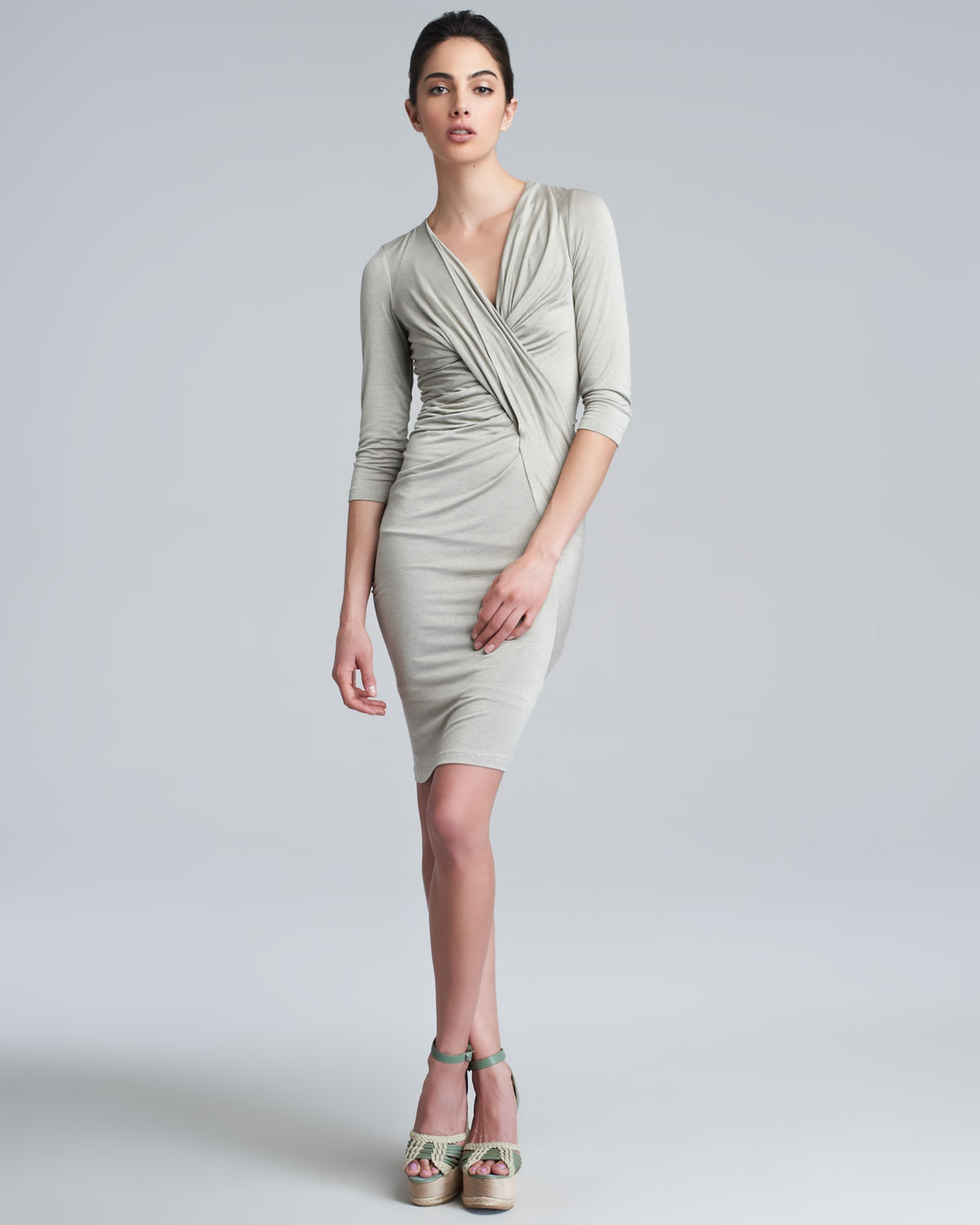 Donna karan Threequartersleeve Vneck Draped Dress Hemp in Gray | Lyst