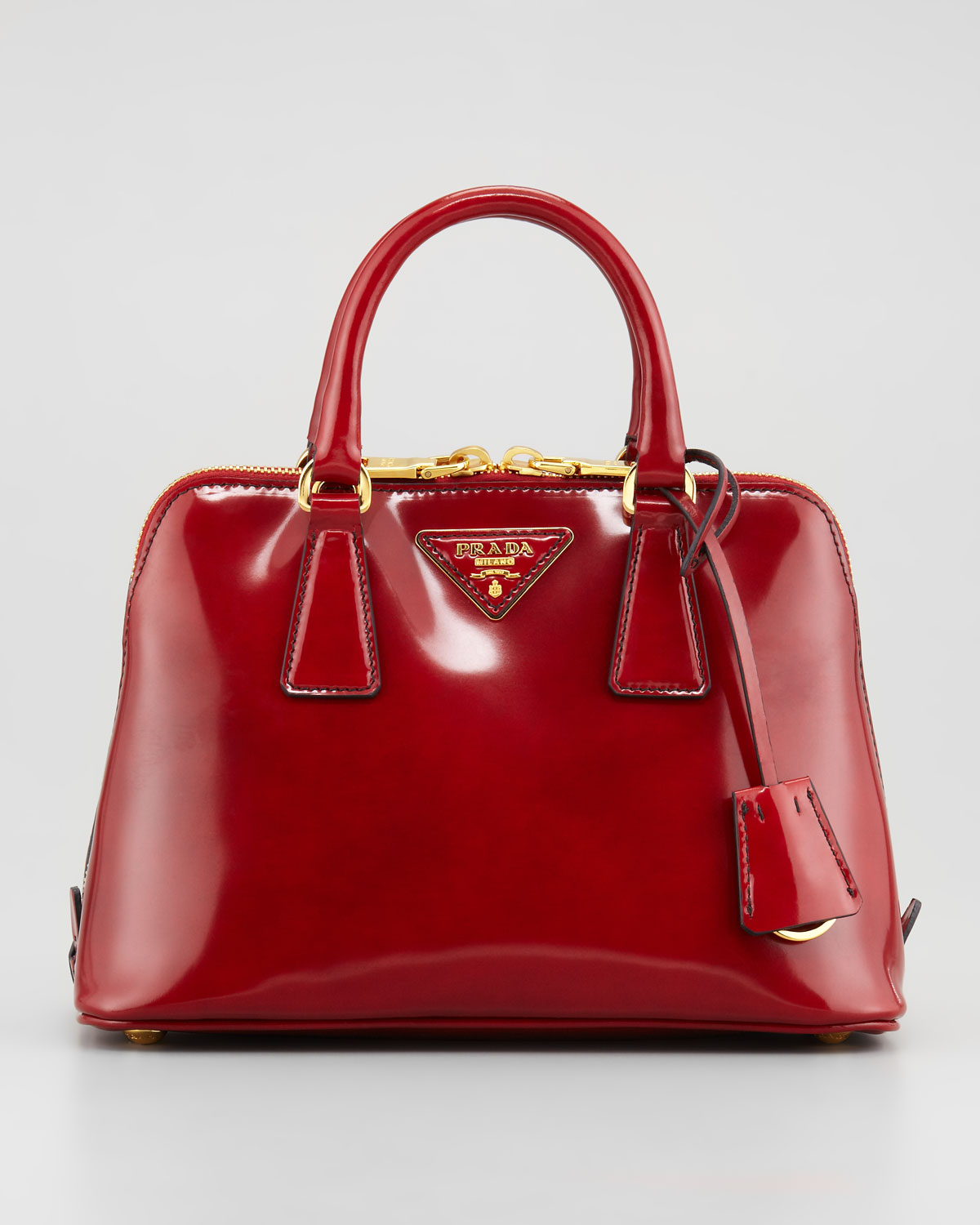 Prada Spazzolato Promenade Satchel Bag in Red | Lyst