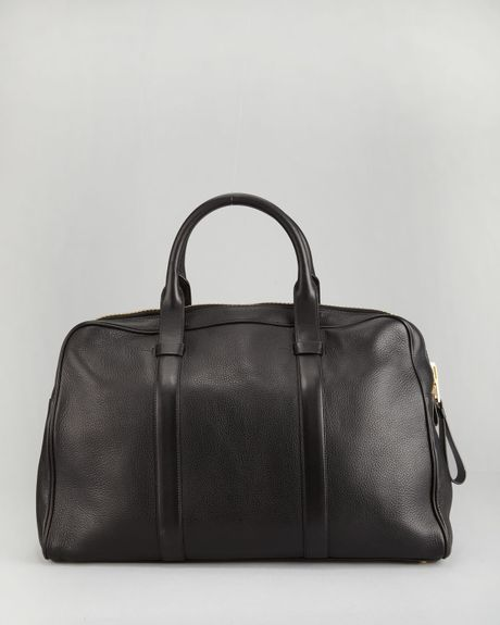 Tom Ford Pebbled Leather Duffel Bag in Black for Men (dark brown)