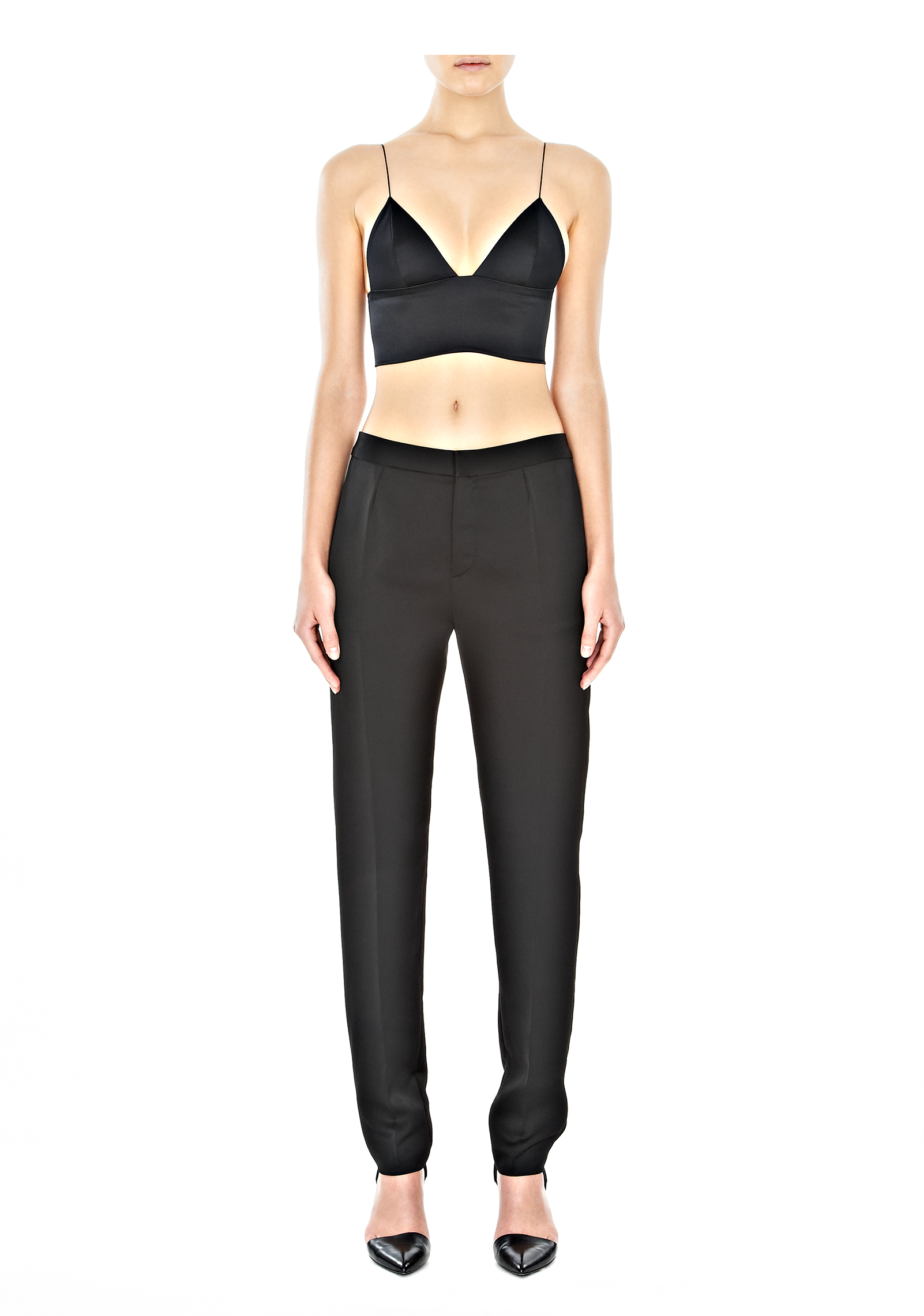 976636675f Lyst - Alexander Wang Silk Satin Triangle Bralette in Black