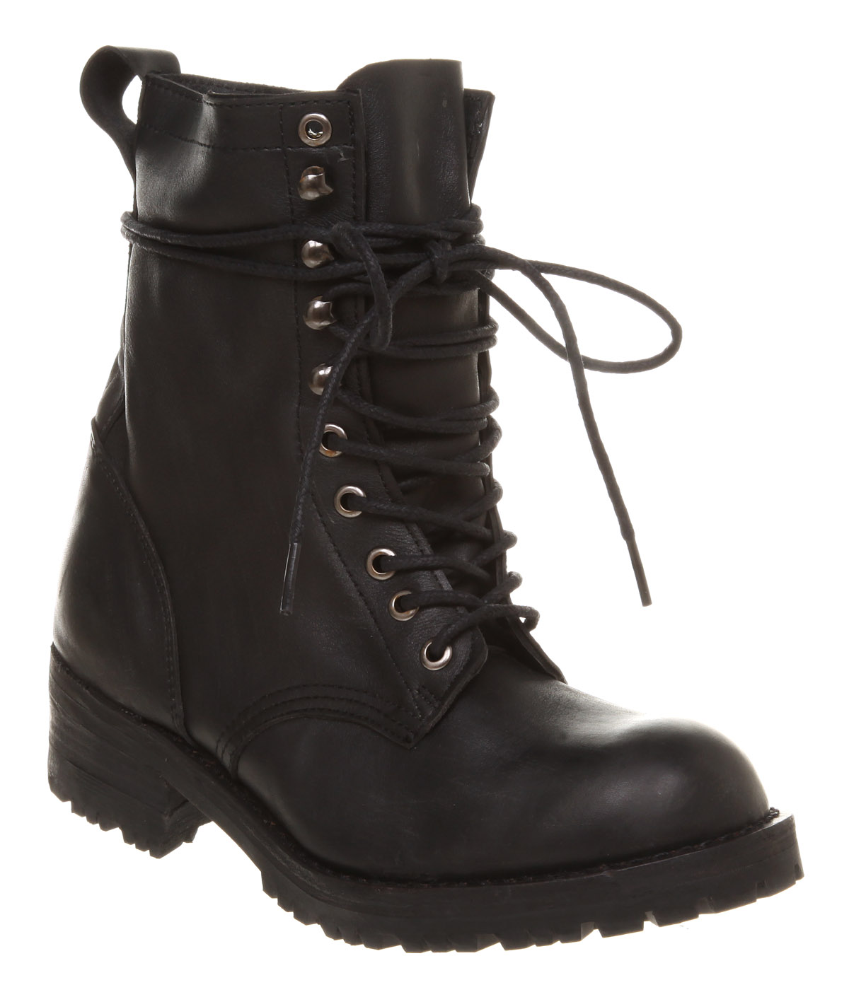 jeffrey cbell helen flat lace up boot black distressed