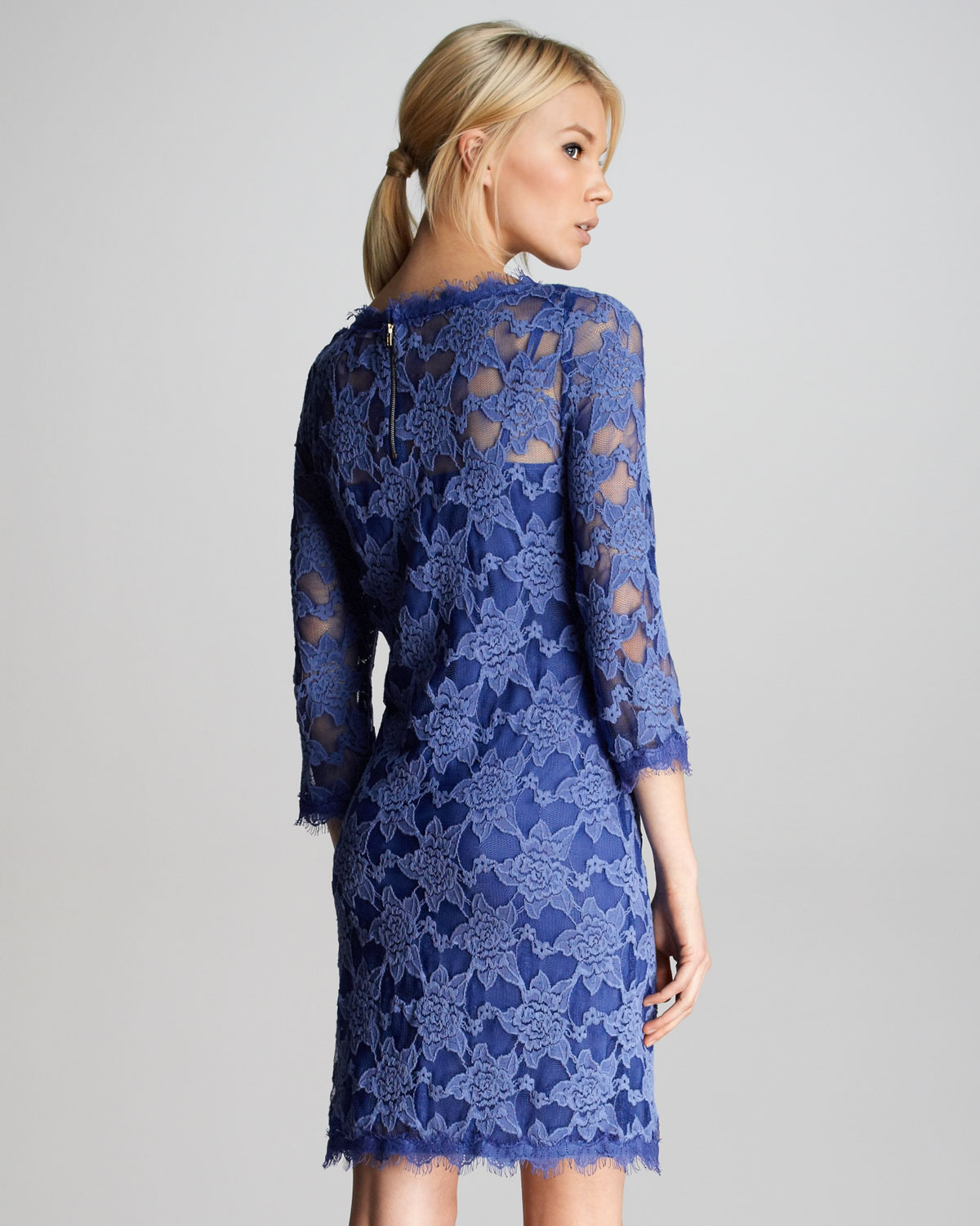 Lyst Rebecca Taylor Lace Scalloped Shift Dress In Blue