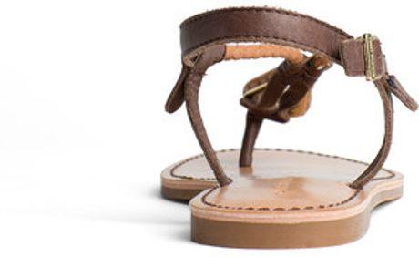 tommy hilfiger julia sandal in brown lyst. Black Bedroom Furniture Sets. Home Design Ideas