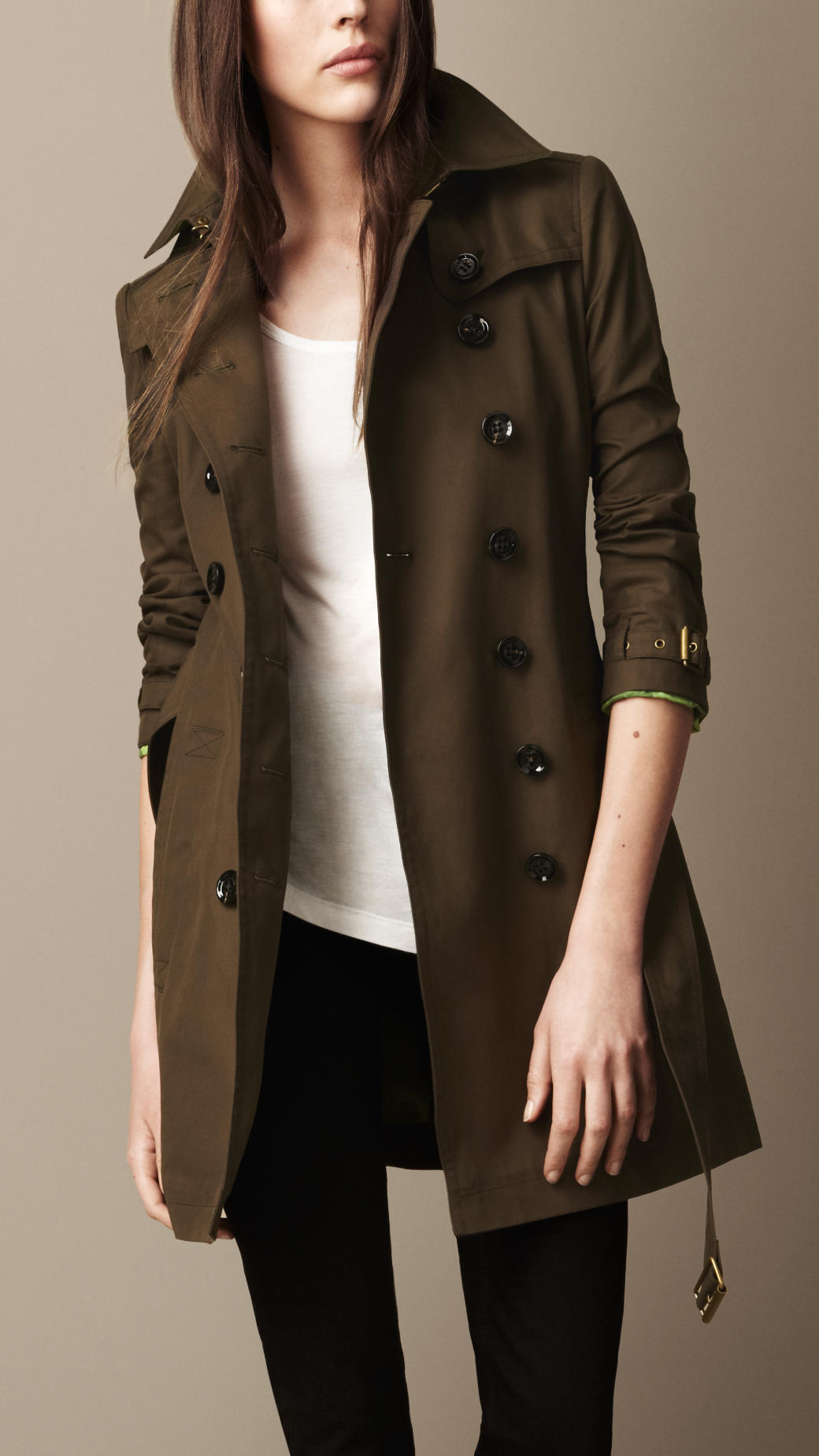 Burberry brit Midlength Cotton Poplin Trench Coat in Green ...