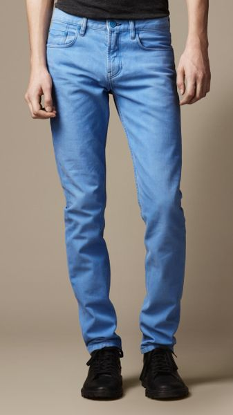 Burberry Shoreditch Coated Color Skinny Fit Jeans in Blue for Men (lt cornflower blue)