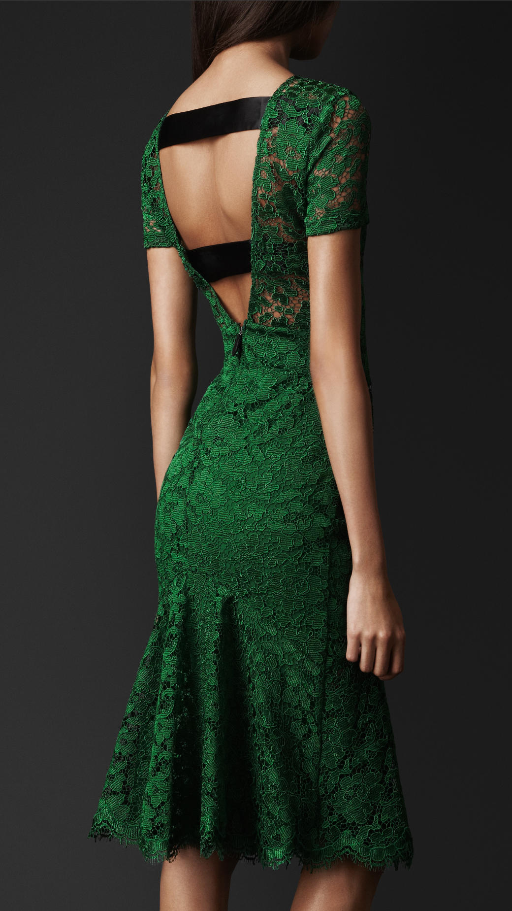 burberry prorsum cutoutback lace dress in green kelly