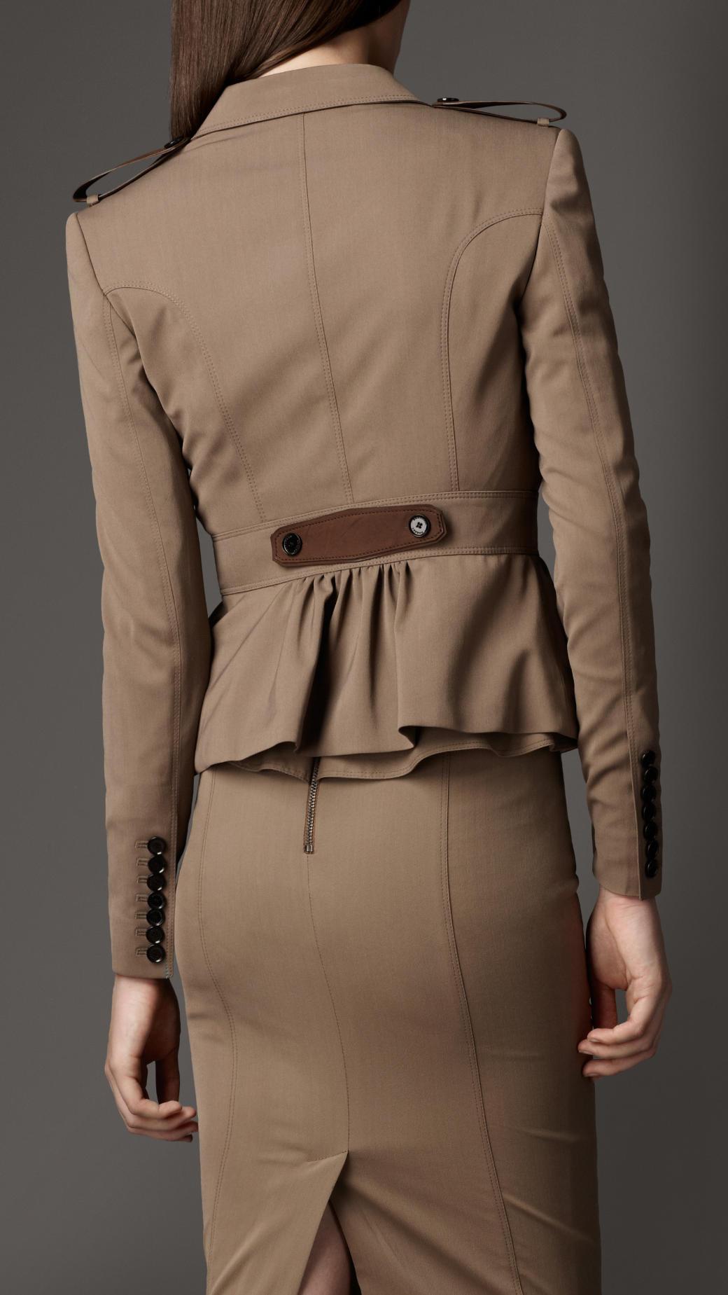 Burberry Nubuck Detail Peplum Jacket in Brown | Lyst