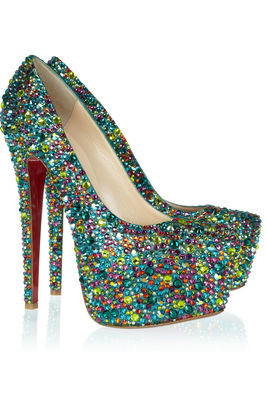 christian louboutin daffodile 160 crystalembellished leather pumps in blue lyst. Black Bedroom Furniture Sets. Home Design Ideas