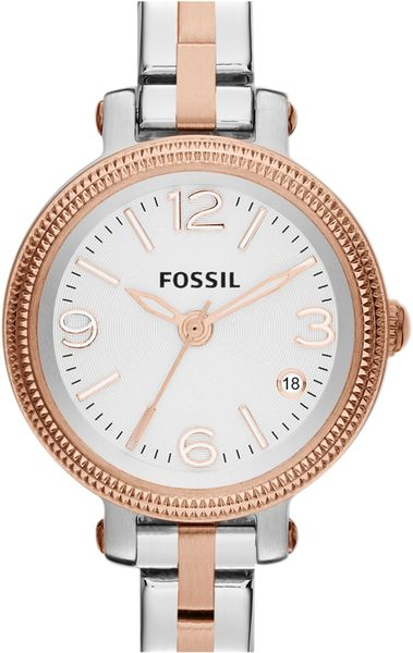 fossil small heather round bracelet watch in rose gold. Black Bedroom Furniture Sets. Home Design Ideas