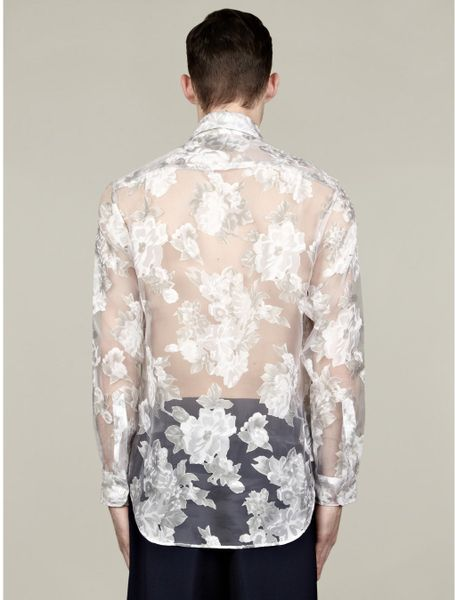 J w anderson mens white placement floral sheer shirt in for Mens white floral shirt