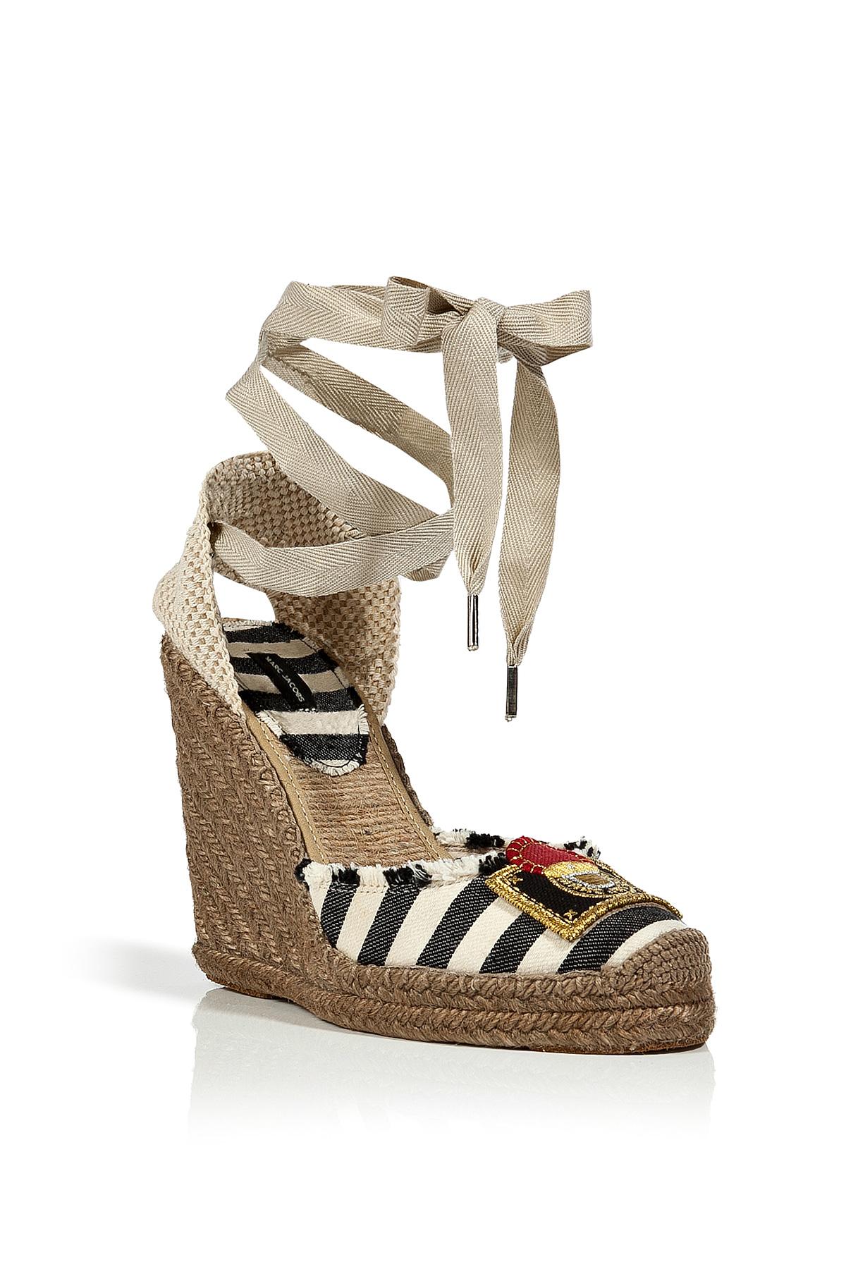 49ff96fbb3a Marc Jacobs White Black/cream Striped Espadrille Wedges