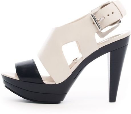 Michael Kors Carla Colorblock Platform Sandal in Black (vanilla) - Lyst