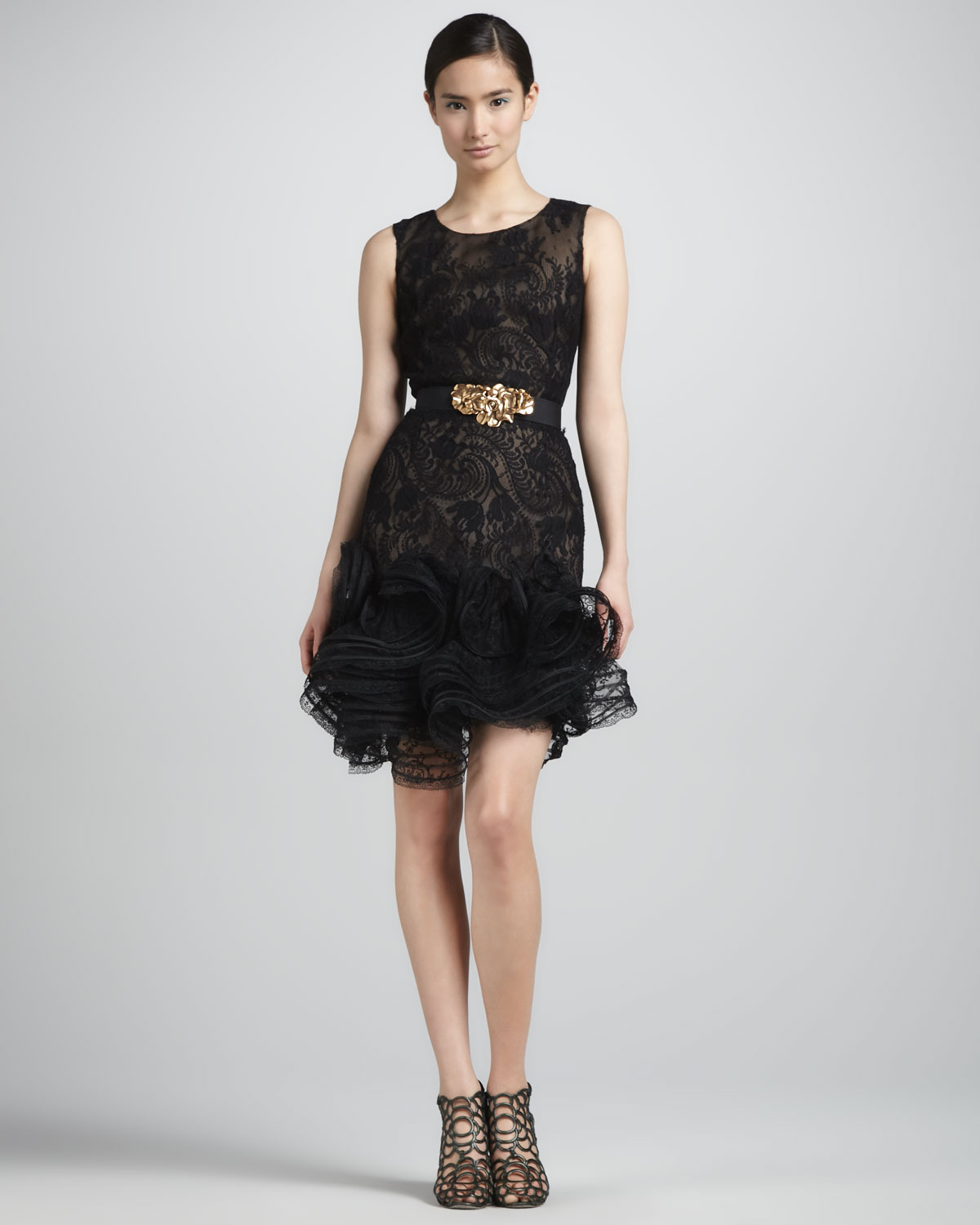 Oscar De La Renta Sleeveless Dress With Lace Hem In Black