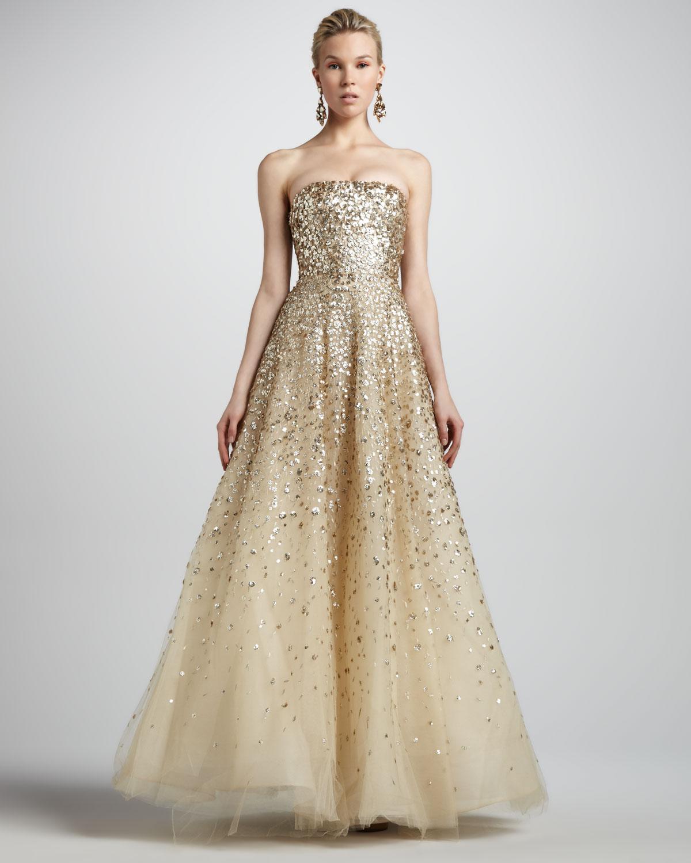 5c7e1d3eb5e99 Oscar de la Renta Strapless Floral Paillette Ball Gown Champagne in ...
