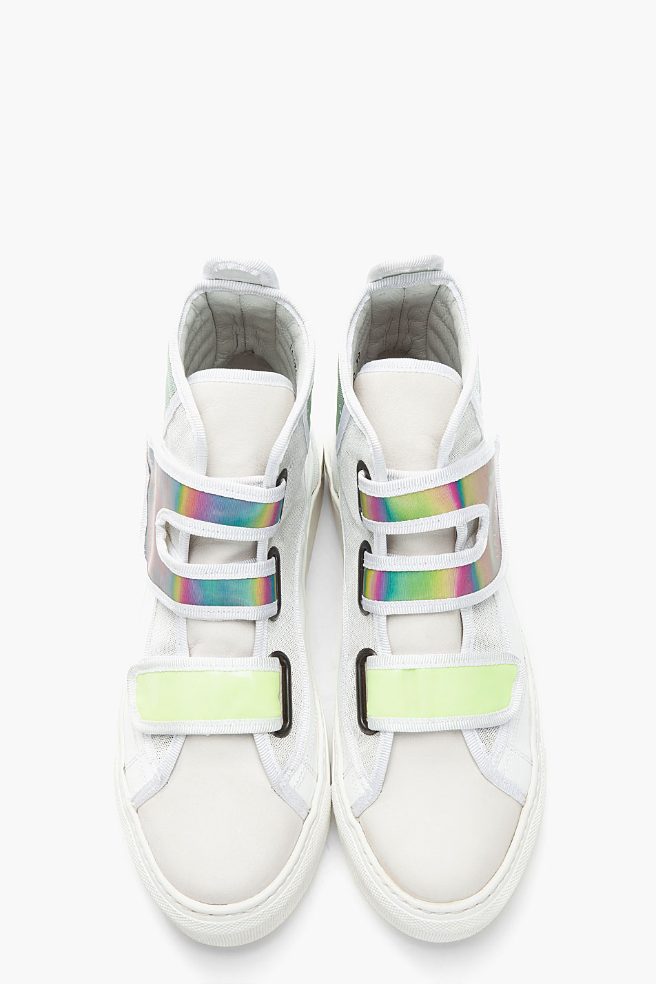 9c4abc301bfa Lyst - Raf Simons White Green Holographic Velcro High Top Sneakers ...