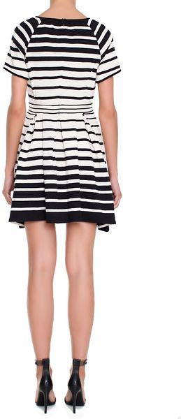 Tibi Variegated Stripe Pleated Dress In White Ivory Lyst