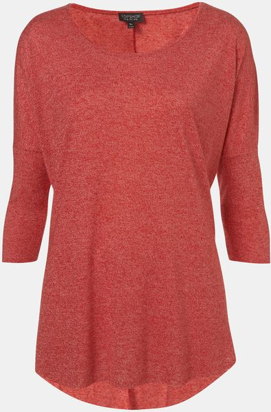 Topshop Drop Shoulder Top in Red - Lyst