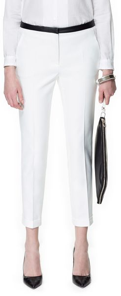 Zara Trousers with Faux Leather Waist in White (ecru)