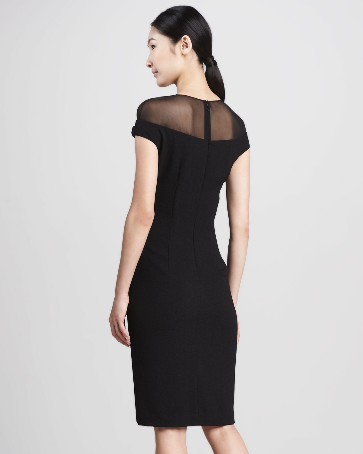 Black Illusion Dress: David Meister Illusiontop Cocktail Dress In Black
