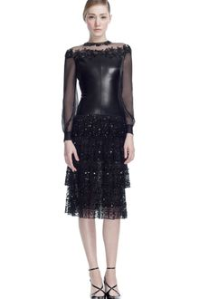 Valentino Leather and Chantilly Lace Long Sleeve Dress - Lyst