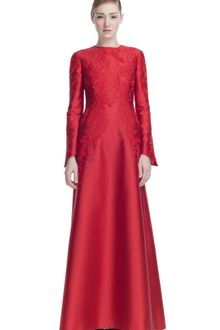 Valentino Embroidered Mikado Long Sleeve Gown - Lyst