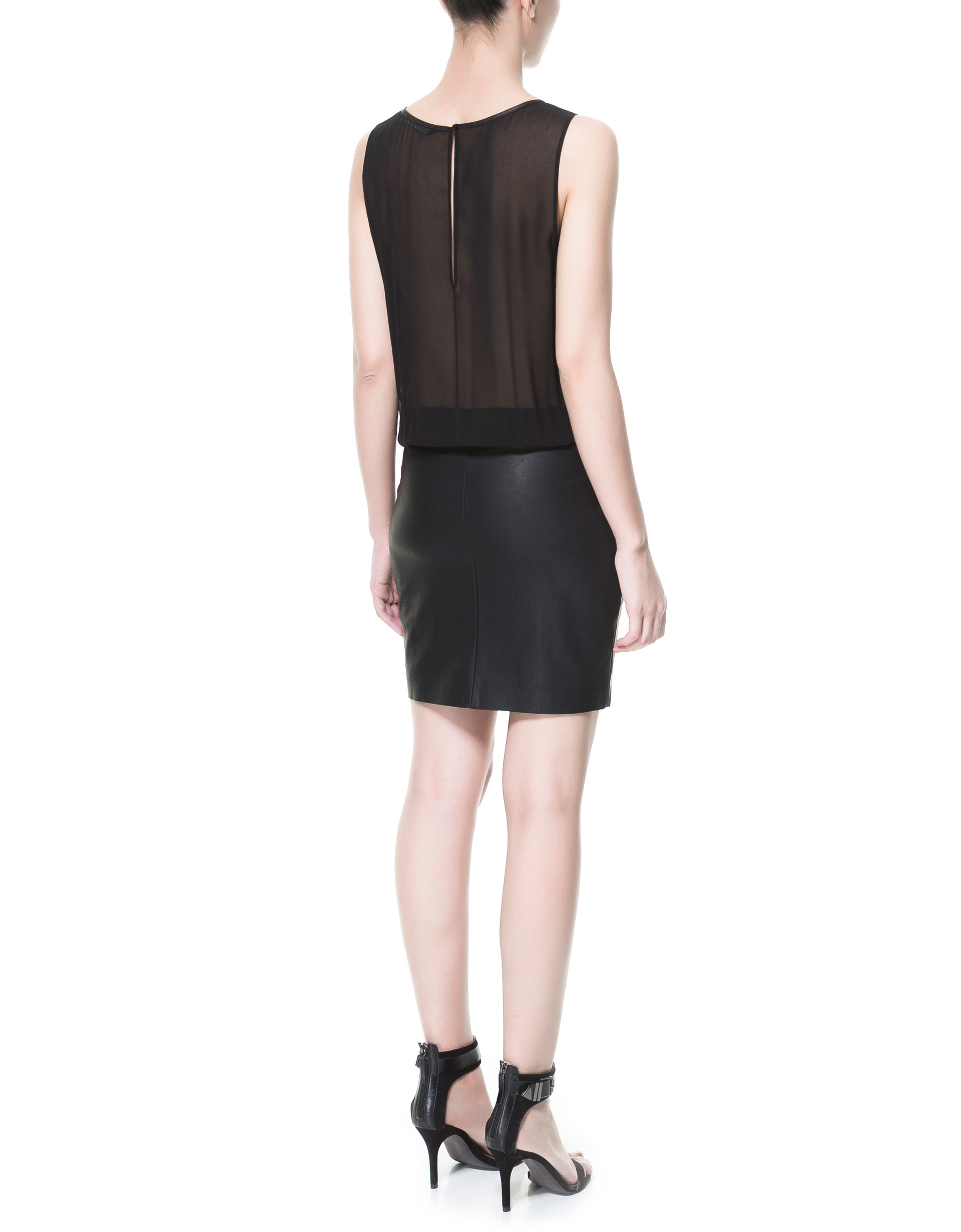 Zara Combined Dress with Faux Leather Skirt in Black | Lyst